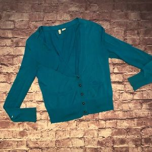 Anthropologie teal long sleeved cardigan medium